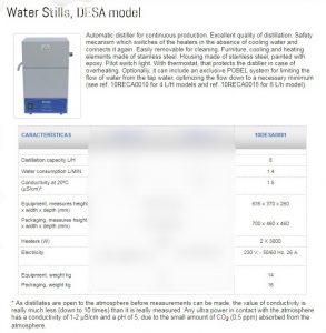 Water Distiller Pobel model desa 8 litre Spanish